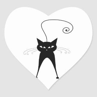 Gatinho irrisório preto 6 adesivo coração
