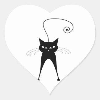 Gatinho irrisório preto 6 adesivo de coração