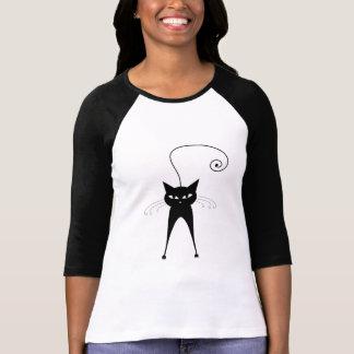 Gatinho irrisório preto 6 t-shirt