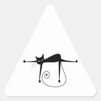 Gatinho irrisório preto 8 adesivos triângulo