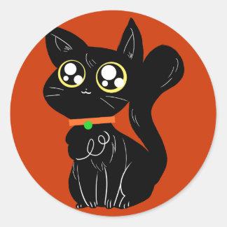 Gatinho preto Cutesy Adesivos Em Formato Redondos