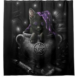 Gatinho preto das bruxas cortina para chuveiro