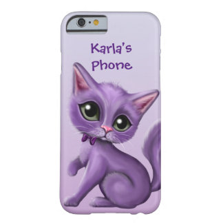 Gatinho roxo caixa personalizada do iPhone 6 Capa Barely There Para iPhone 6