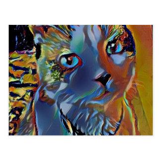 gatinho sobrenatural azul do sapato de neve cartão postal