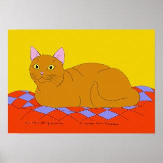 Gatinho vermelho de sorriso poster