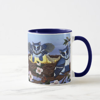 Gatinhos de Jay azul, caneca da arte da fantasia