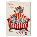 Gatinhos do natal vintage cartões