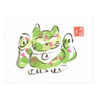 Gato afortunado verde cartão postal