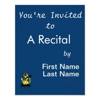 gato amarelo que joga a guitarra azul e o convite 10.79 x 13.97cm