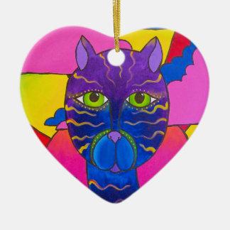 Gato anca ornamento de cerâmica coração
