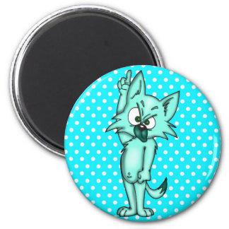 Gato assertivo engraçado dos desenhos animados ímã redondo 5.08cm