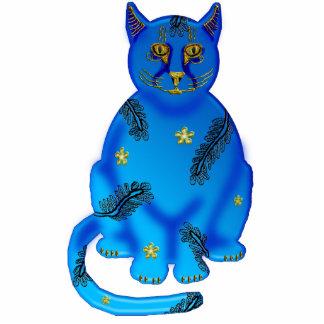 gato azul do faience fotoesculturas