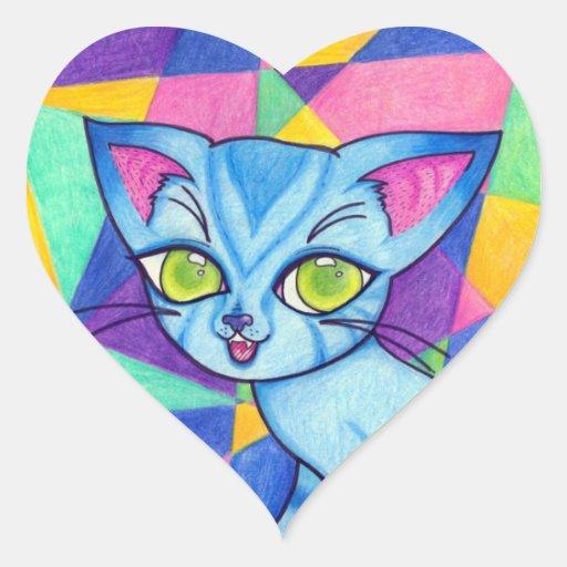 Aparador De Madeira Branco ~ Gato azul no fundo de Technocolour Adesivo Coraç u00e3o Zazzle