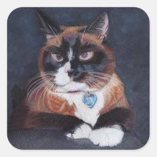 Gato bonito adesivo quadrado