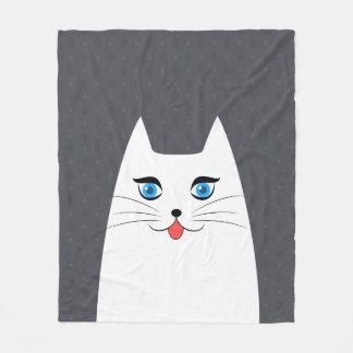 Gato bonito com a língua que cola para fora cobertor de velo