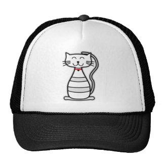 Gato bonito do branco de Stripey Boné