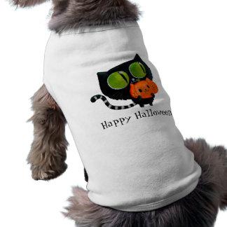 Gato bonito do Dia das Bruxas com abóbora Camisa Sem Mangas Para Cachorro