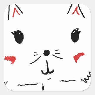 Gato bonito do gatinho adesivo quadrado