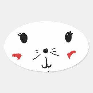 Gato bonito do gatinho adesivo oval