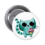 Gato bonito do gatinho com cupcake de Kawaii Bóton Redondo 5.08cm