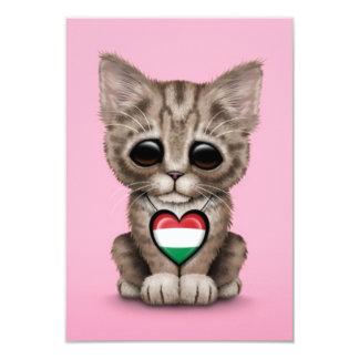Gato bonito do gatinho com o coração húngaro da convites