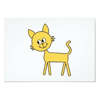 Gato bonito. Gato amarelo de passeio Convite 8.89 X 12.7cm