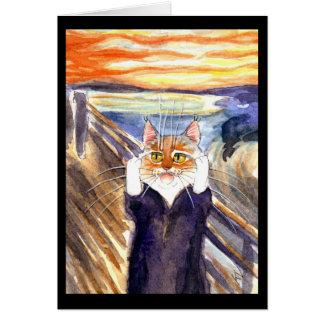 Gato bonito o cartão da paródia do gritar