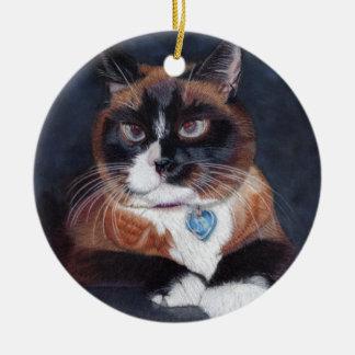 Gato bonito ornamento de cerâmica redondo