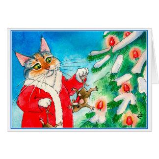 Gato bonito, ratos, cartão da árvore de Natal