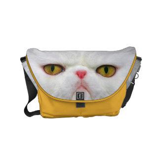 Gato branco bolsa mensageiro