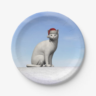 Gato branco para o Natal - 3D rendem