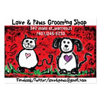 gato & cão/pintura infantil/vermelho/preto! cartão de visita grande