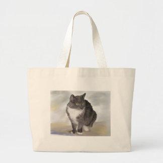 Gato cinzento bolsas para compras