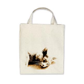 Gato cinzento bolsa para compras