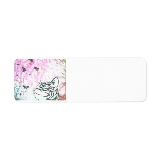 Gato colorido etiqueta endereço de retorno