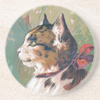 Gato com ilustração vermelha do vintage da fita porta copos de arenito