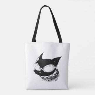 Gato com o bolsa do logotipo dos óculos de