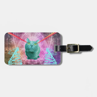 Gato com olhos do laser etiqueta de bagagem