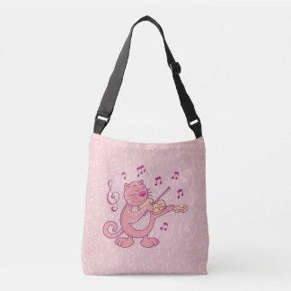 Gato cor-de-rosa com violino bolsa ajustável