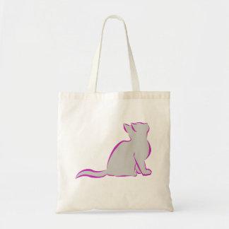 Gato cor-de-rosa, suficiência cinzenta bolsa tote