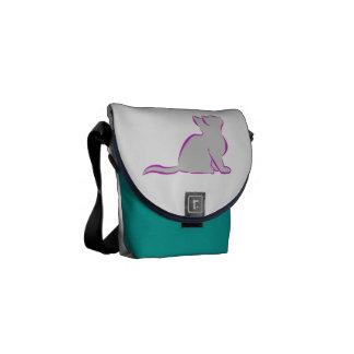 Gato cor-de-rosa, suficiência cinzenta bolsas mensageiro