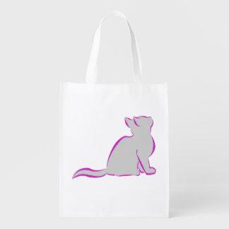 Gato cor-de-rosa, suficiência cinzenta sacola ecológica