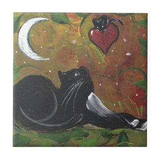 Gato & coração pretos do smoking azulejo