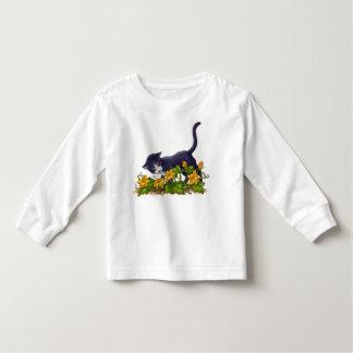 Gato curioso camiseta infantil