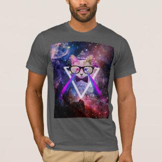Gato da galáxia do hipster camiseta