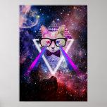 Gato da galáxia do hipster poster