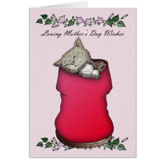 Gato da mãe, do dia das mães e flores, bonitos cartão comemorativo
