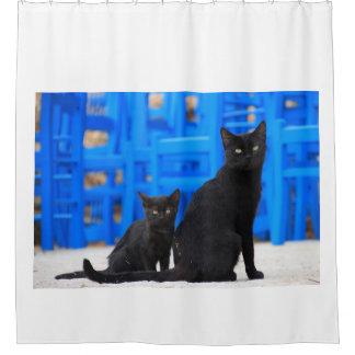 Gato da mãe e gatinho pretos do bebê cortina para box