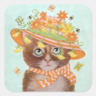 Gato da páscoa na capota da páscoa com borboletas adesivo quadrado
