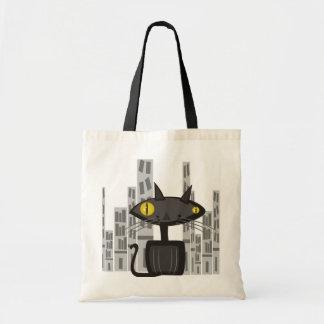Gato de beco retro na cidade bolsas para compras